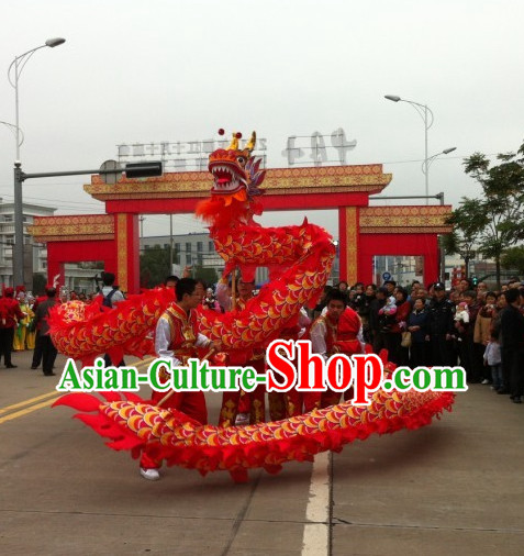 Parade Performance Red Dragon Dance Costumes Complete Set for Kids