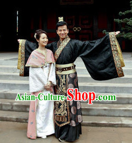 Black Chinese Hanfu Clothing and Headpieces for Men