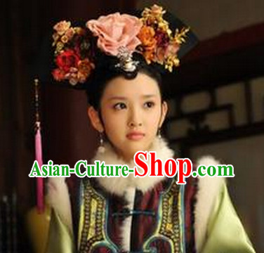 Chinese Qing Dynasty Princess Floral Manchu Hat