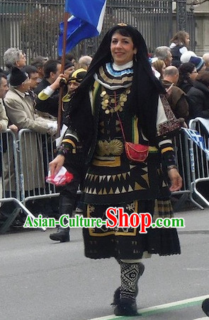 Womens Traditonal Greek National Costumes Complete Set