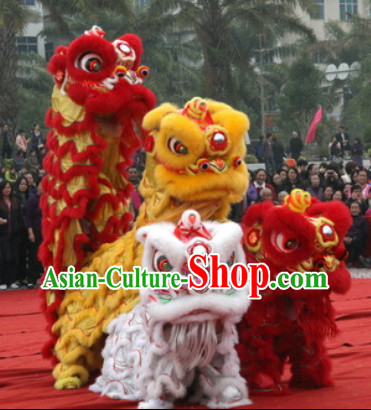 NEW 100% Natural Wool Lion Dance Costumes Equipments Complete Set