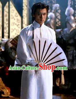 White Handsome Male Hanfu Mandarin Robe for Kung Fu Master