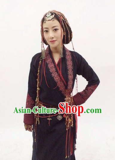 Classic Chinese Black Swordwoman Costume Complete Set