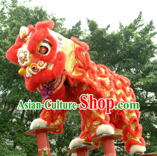 Top Southern Buddha Mountain Lion Dance Head and Costumes Complete Set