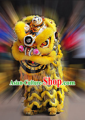 Top Yellow Southern Buddha Mountain Lion Dance Costumes Complete Set