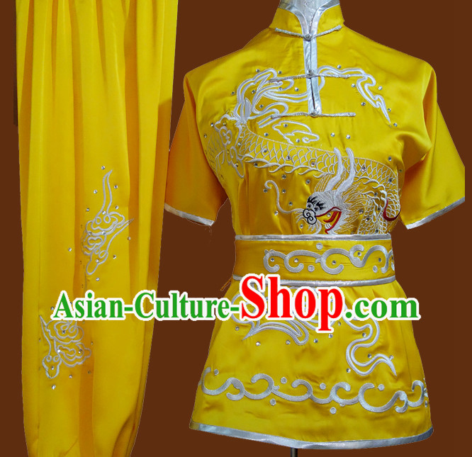 Yellow Professional Martial Arts Competition Silk Outfit