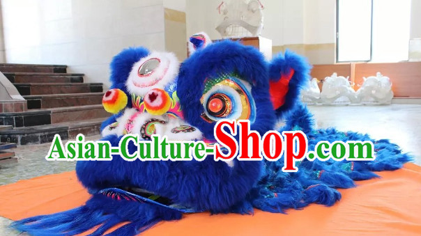 Blue Lion Dance Mask Costume Complete Set