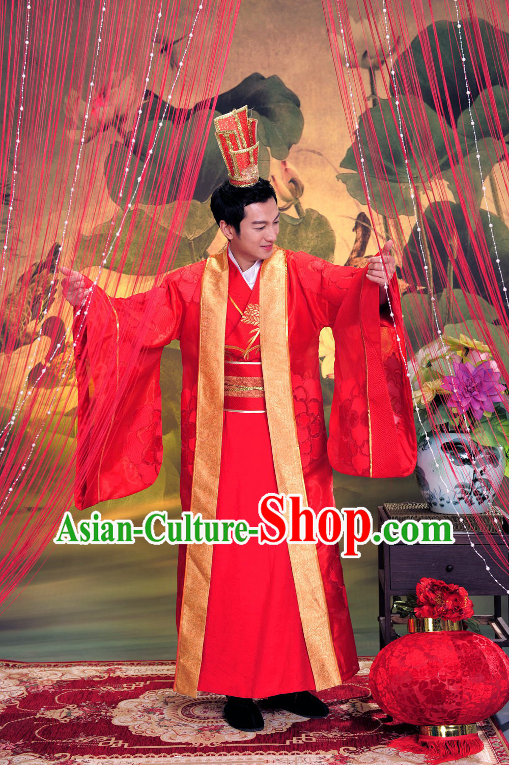 Chinese Traditional Bridegroom Suit and Hat Complete Set