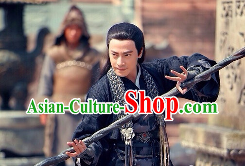 Ancient Chinese Swordman Long Black Wig for Men