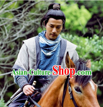Ancient Chinese Long Black Wigs for Mens Long Hair
