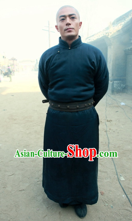 Chinese Traditional Mandarin Kung Fu Master Black Bodyguard Long Robe for Men