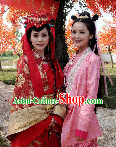 Red Chinese Wedding Dress and Hair Ornaments Complete Set