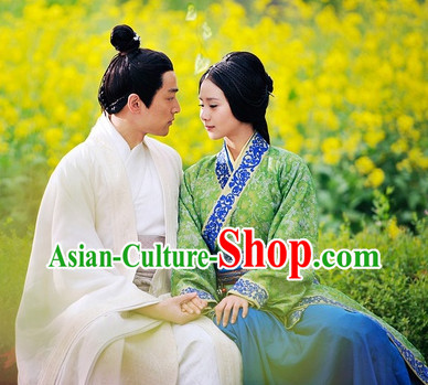 White Chinese Male Hanfu Clothing