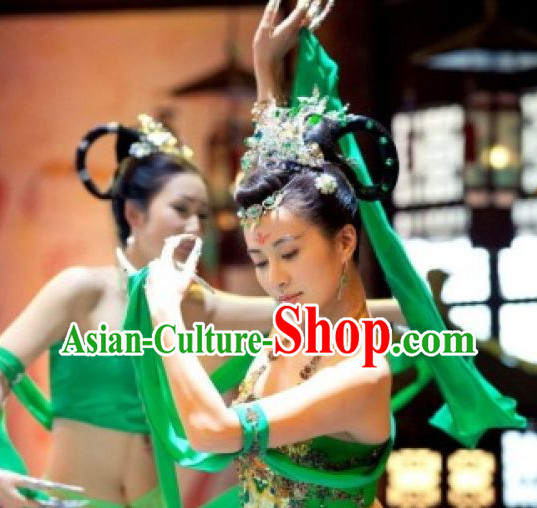 Chinese Green Classical Dance Costumes and Hair Accessories