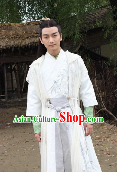 Chinese Infanta Dramaturgic Bamboo Embroidery Gowns and Robes for Men