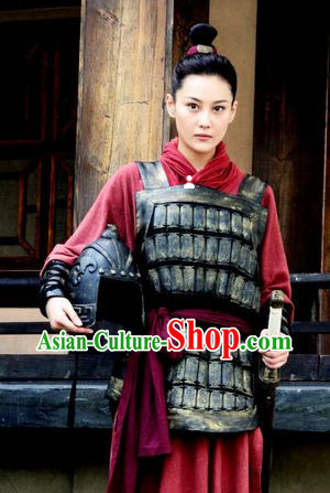 Chinese Classic Red Female Superhero Armor Suit Costumes Complete Set