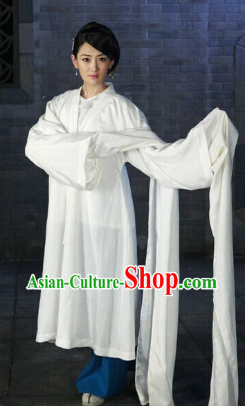 Chinese Classic White Long Sleeves Stage Dan Costumes