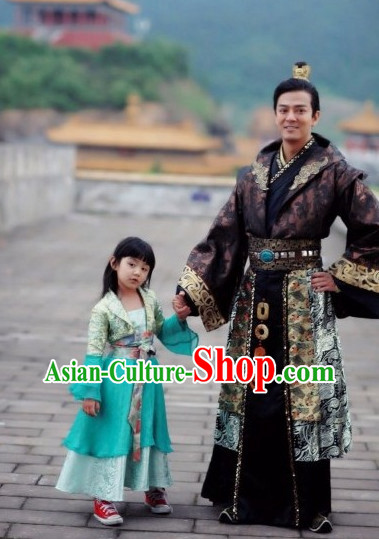 Chinese Classical Male Emperor Clothing and Hat Complete Set