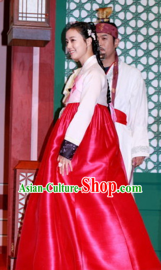 Korean Ancient Princess Hanbok Costumes and Hair Accessory for Women