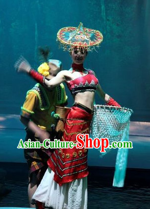 China Ethnic Dance Costumes and Hat Complete Set