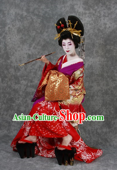 Japanese Geisha Costumes and Headwear Complete Set