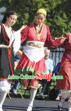 Traditional Greek Dance Costumes and Headband Complete Set for Women