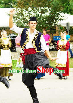Traditional Greek Dance Costume and Hat Complete Set for Men