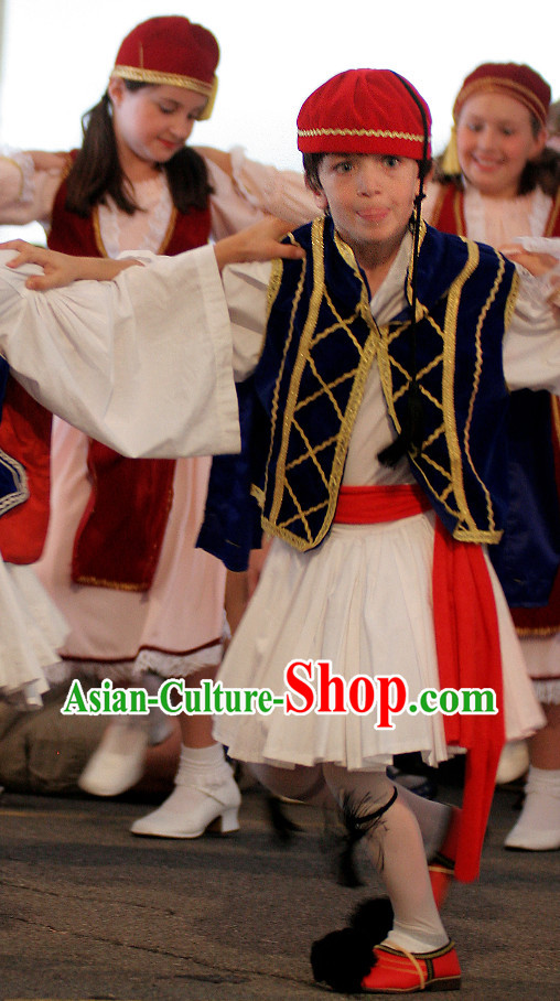 Traditional Greek Dancing Costumes and Hat Complete Set for Kids