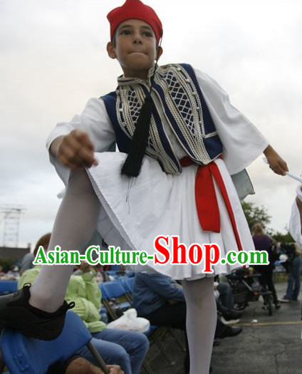 Traditional Greek National Clothing and Hat Complete Set for Children
