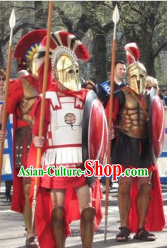 Ancient Greek General Stage Performance Armor Costumes and Hat Complete Set