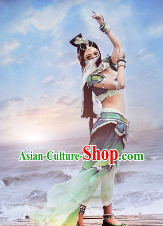 Asian Cosplay Oriental Palace Dance Women Sexy Costumes Complete Set