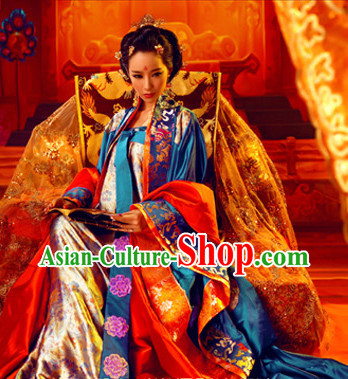 Chinese Traditional Princess Clothes and Hair Accessories Complete Set