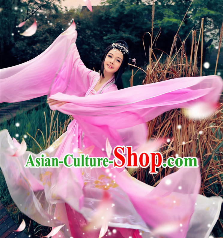 Asian Pink Fairy Wide Sleeves Classical Dancing Costumes Complete Set
