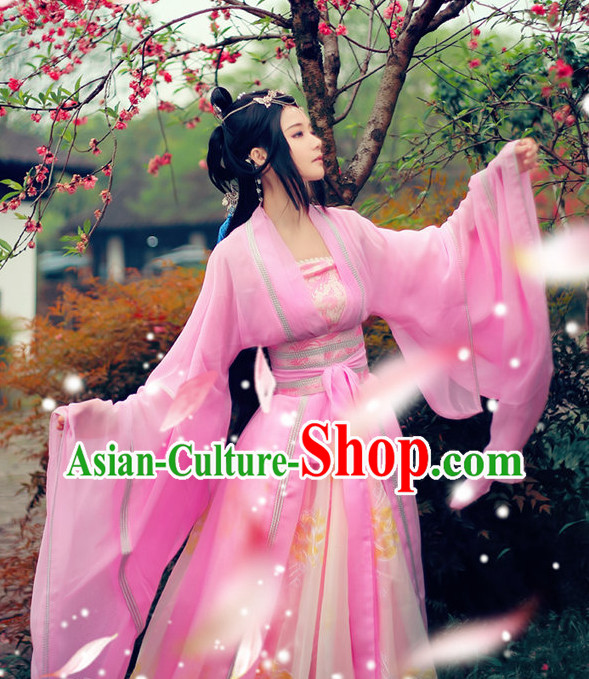China Pink Fairy Wide Sleeves Classical Dancing Costumes Complete Set