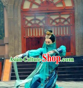 China Mysterious Swordswomen Costumes and Accessories Complete Set