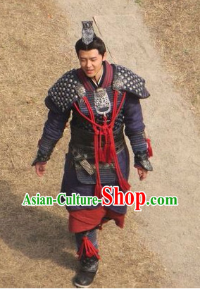 China Ancient General Superhero Armor Costumes and Headwear Complete Set