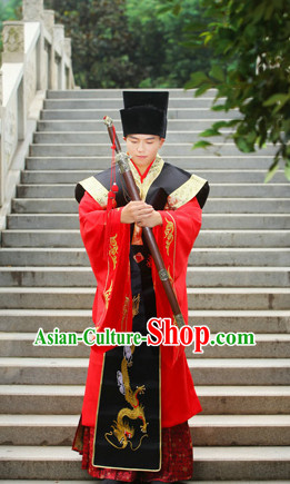 China Ancient Secretary Costumes Complete Set for Men