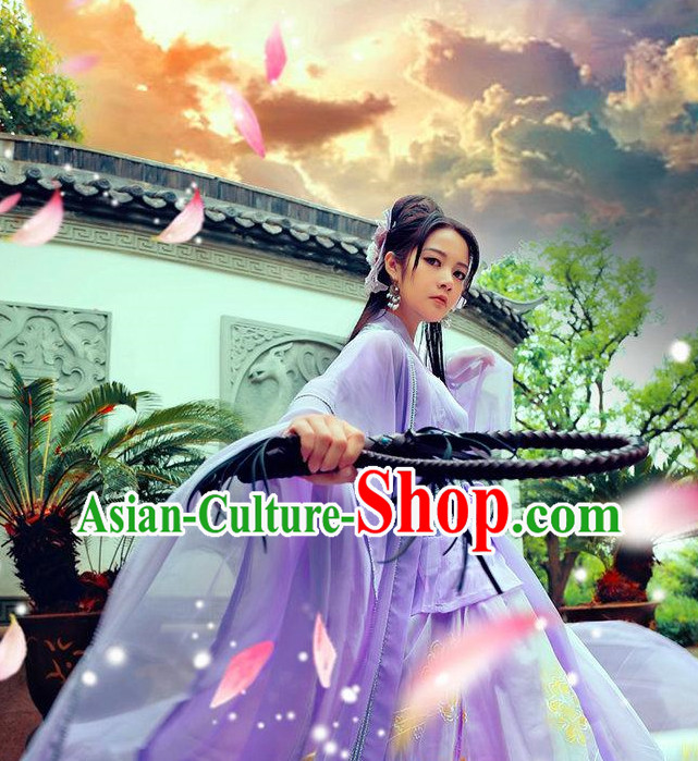 Asian Purple Hanfu Costumes for Ladies