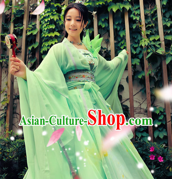 Asian Spring Green Fairy Dress Suit for Women