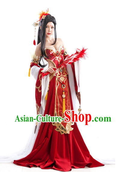Asian Sexy Queen Costumes and Hair Accessories Full Set for Women