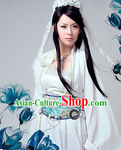 Pure White Goddess Costumes and Hair Accessories
