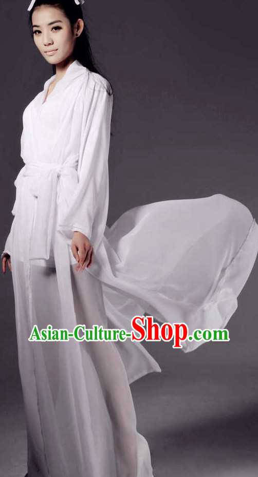 Pure White Ancient Style Costumes for Girls