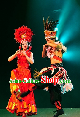 Chinese Yunan Xishuang Banna Ethnic Men and Women's Dance Costumes