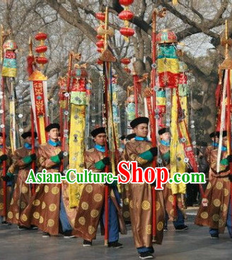 Chinese Flag Holder Stage Costumes and Hat