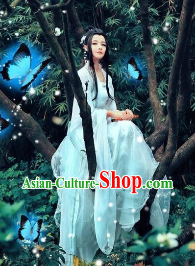 Pure White China Beauty Hanfu Dress for Women