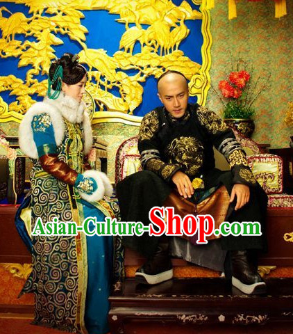Traditional Manchu Princess Fur Robe Dresses and Headwear
