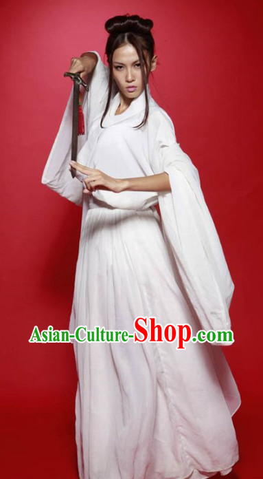 Pure White Wizard Swordswomen Costumes