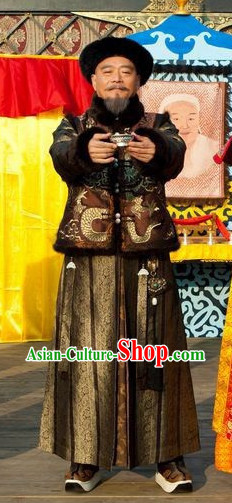 Qing Dynasty Prime Minister Winter Long Robe Clothes and Hat Complete Set