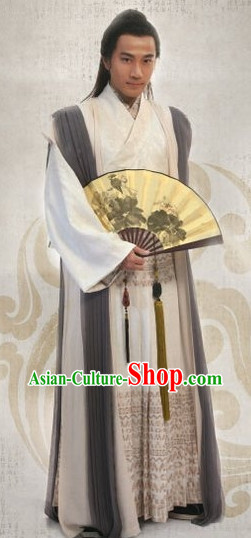 Chinese Traditional Tang Bohu Costumes and Fan for Men