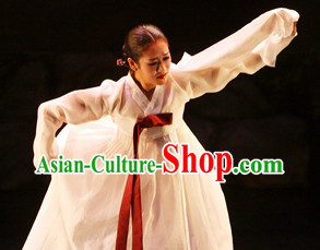 Pure White Korean Dance Costumes for Women